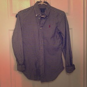 RALPH LAUREN CHECKERED BLACK WHITE BUTTON-DOWN SZ4